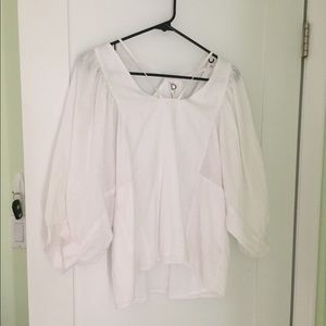 Anthropologie White Linen Blouse